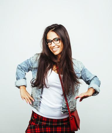 young happy smiling latin american teenage girl emotional posing