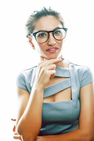 young pretty businesswoman posing emotional on white background