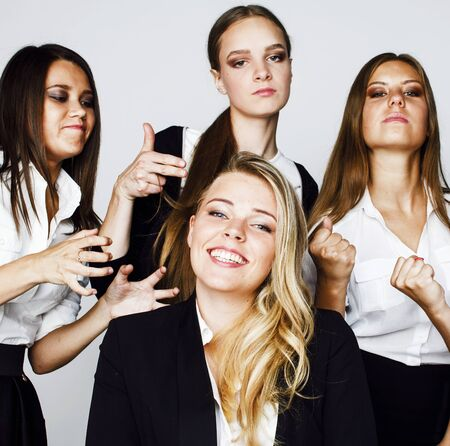 lot of businesswomen happy smiling celebrating success of team Stock Photo