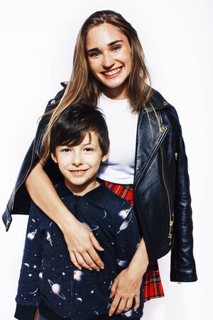 lifestyle and people concept, little cute boy with teenage girl Zdjęcie Seryjne - 128607171