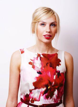 young pretty blonde girl wearing flowery attire Banco de Imagens