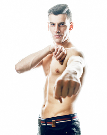 young handsome agressive man boxing isolared on white background Stock Photo