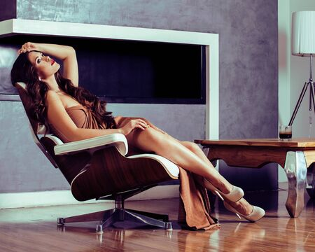 beauty young brunette woman sitting near fireplace at home Zdjęcie Seryjne