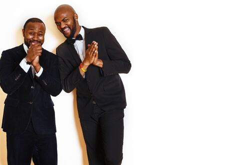 two afro-american businessmen in black suits