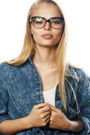 young pretty girl teenager in glasses