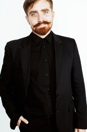young red hair man with beard and mustache in black suit on whit