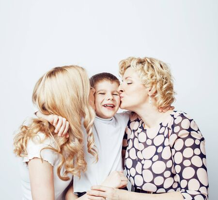 happy smiling blond family together posing cheerful on white bac