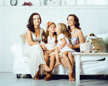 young pretty modern family at home happy smiling, lifestyle peop