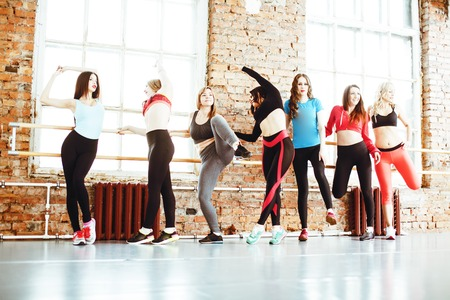 Women doing sport in gym, healthcare lifestyle happy people conc