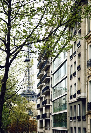 french paris street , parts of buildings with balcony 스톡 콘텐츠