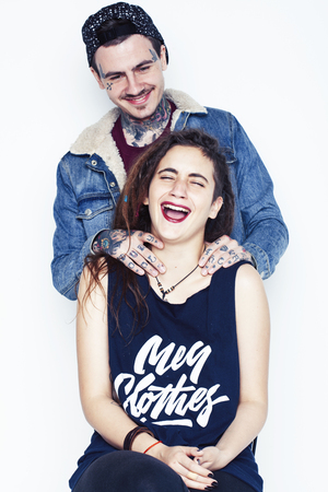 young pretty couple together, lifestyle people concept, boyfriend and girlfriend tattoo close up Stock Photo