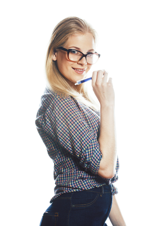 young pretty student modern blond girl in glasses posing emotional happy smiling isolated on white background, lifestyle people concept