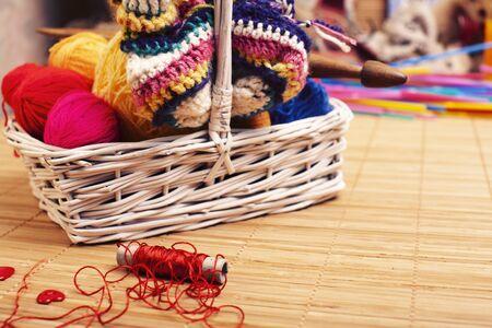 knitting stuff for nandmade creative work, lifestyle background
