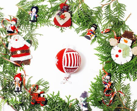 christmas decoration isolated , white background for post card gift vintage