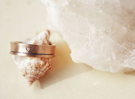 beautiful macro shot of golden wedding ring with sea shell and little flowers on colored background Standard-Bild - 129465054