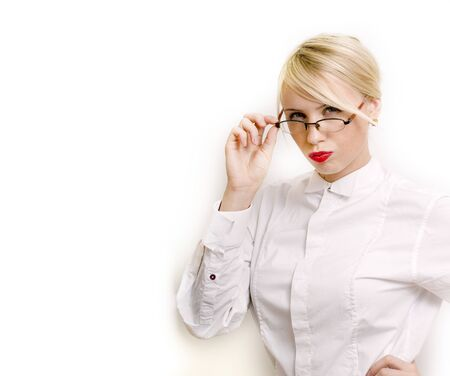 emotional businesswoman in glasses, blond hair on white background. teacher hands up posing isolated. pointing gesturing, lifestyle people concept close up 스톡 콘텐츠