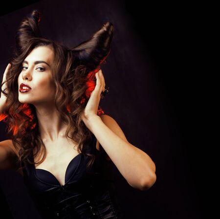femme mystérieuse brillante aux cheveux de corne Banque d'images