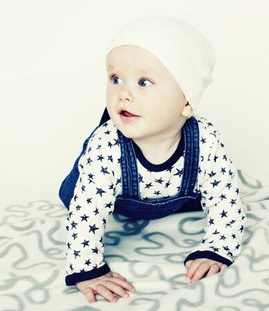 little cute baby toddler on carpet isolated close up smiling adorable cheerful Фото со стока