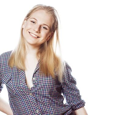 young pretty stylish blond hipster girl posing emotional isolated on white background happy smiling cool smile, lifestyle people concept closeup Banque d'images - 132554483
