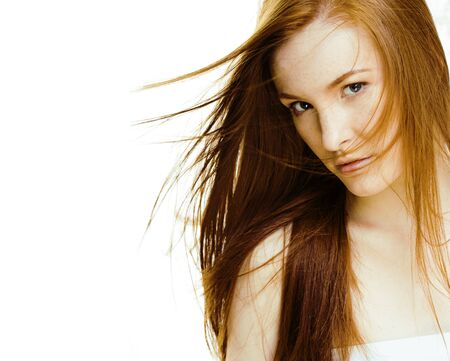 spa picture attractive lady young red hair isolated on white background close up