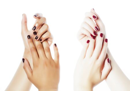 woman hands together manicured african tan and caucasian white isolated gesturing, lifestyle diverse people closeup 写真素材 - 133658944