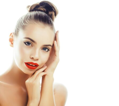 young pretty brunette real woman close up isolated on white background. Fancy fashion makeup, natural look spa Stockfoto