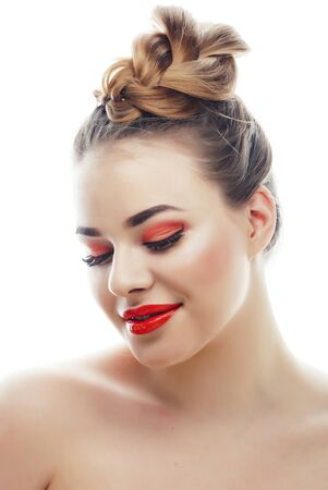 young blond real woman with bright make up smiling pointing gesturing emotional isolated like doll lashes Reklamní fotografie