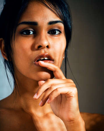 beauty latin young woman in depression, hopelessness look, fashion makeup modern close up copyspace