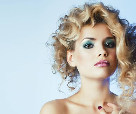 beauty blond woman with curly hair close up isolated, fashion makeup and style