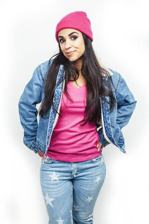 young happy smiling latin american teenage girl emotional posing on white background, lifestyle people concept Reklamní fotografie