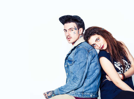 young pretty couple together, lifestyle people concept, boyfriend and girlfriend tattoo 스톡 콘텐츠