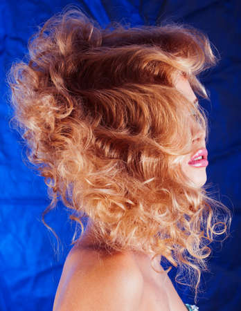 beauty blond woman with curly hair close up isolated, fashion makeup and style 스톡 콘텐츠