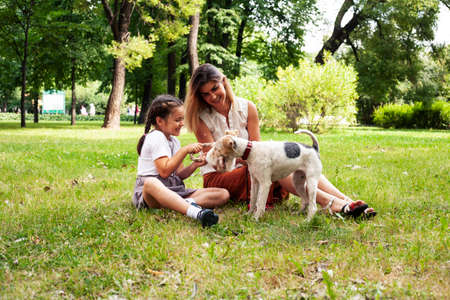 young pretty caucasian mother walking with little cute daughter and dog fox terrier, lifestyle people concept 스톡 콘텐츠