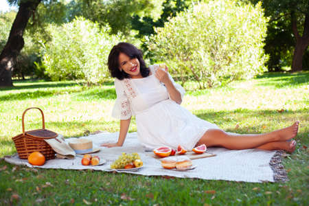young pretty brunette pregnant woman outdoor in green park happy smiling, having picnic, lifestyle people concept