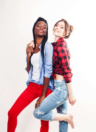diverse multi nation girls, teenage friends cheerful having fun, happy smiling, cute posing isolated on white background, lifestyle people concept, african-american and caucasian