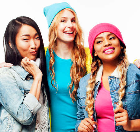 diverse nation girls group, teenage friends company cheerful having fun, happy smiling, cute posing isolated on white background, lifestyle people concept Archivio Fotografico