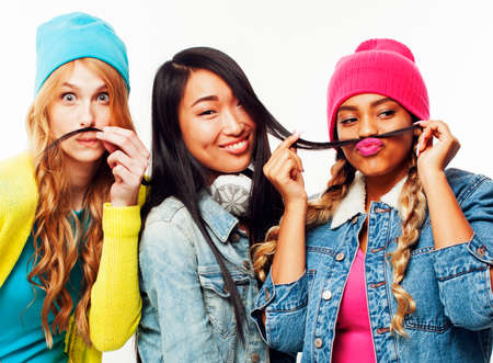 diverse nation girls group, teenage friends company cheerful having fun, happy smiling, cute posing isolated on white background, lifestyle people concept