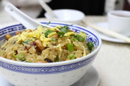 earthnut: Fried glutinous rice in traditional chinese restaurant Stock Photo