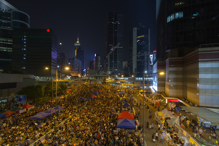 bivouac: Umbrella Revolution in Admiralty hong kong on 11 October 2014