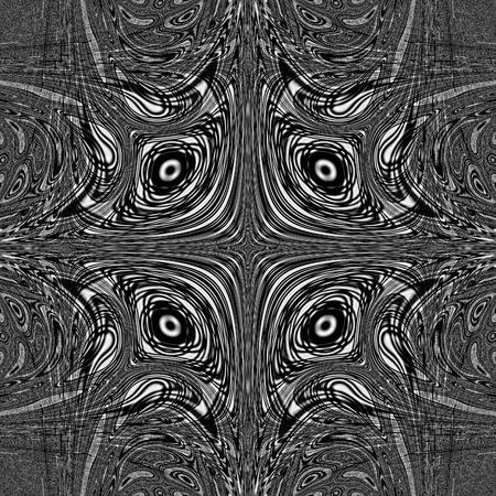 Dark monochrome mandala abstract unusual design Stock Photo