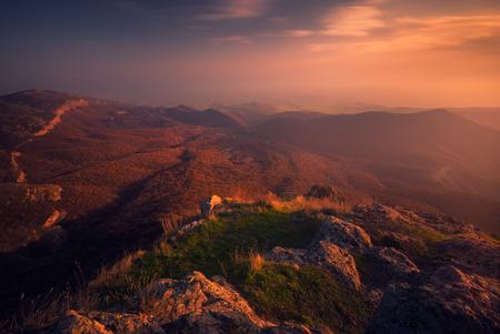 autumn sunset landscape Stock Photo