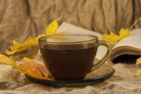 Coffee mug, autumn fall leaves with book on autumn background. close up Фото со стока