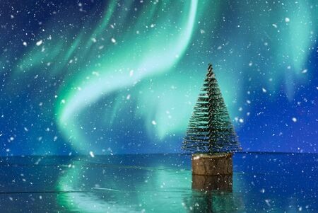 Beautiful Christmas composition with Christmas tree against holiday lights background