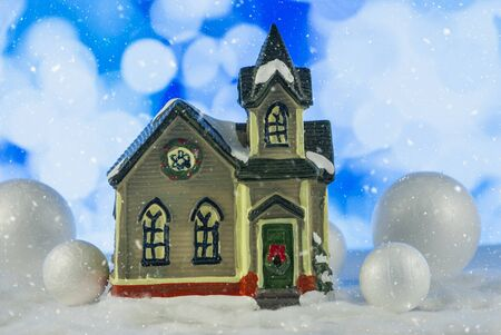Miniature Toy House. Christmas Story. magical background. Close up