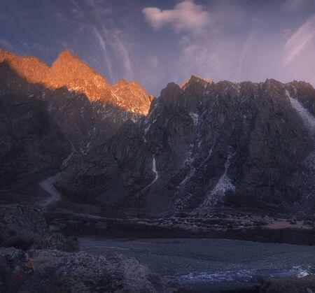 Last light. Beautiful winter View of the Caucasus mountain range in Georgia Banco de Imagens