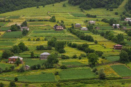 Small georgian village in racha. Beautiful summer landscape Stok Fotoğraf