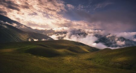 landscape of magical foggy valley in georgia, Caucasus mountains