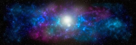 Space background with stardust and shining stars. Realistic cosmos and color nebula. Planet and milky way. Colorful galaxy