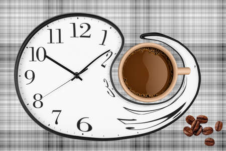 Coffee Time Composition. Coffee cup over clock face and roasted beans top view. Coffee time symbol. Interesting idea energy and refreshment concept .. 写真素材