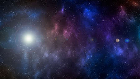 Space background with stardust and shining stars. Realistic cosmos and color nebula. Planet and milky way. Colorful galaxy. 3d illustration Banque d'images